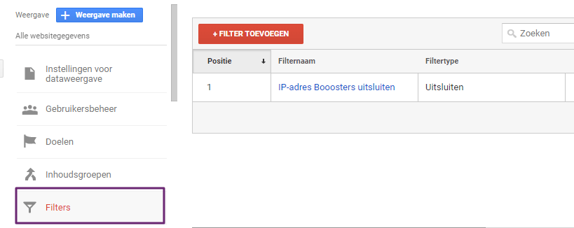 Google Analytics Filter